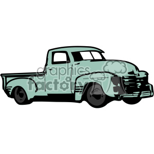 old 1954 vintage pickup truck right profile vector image clipart.  Royalty.