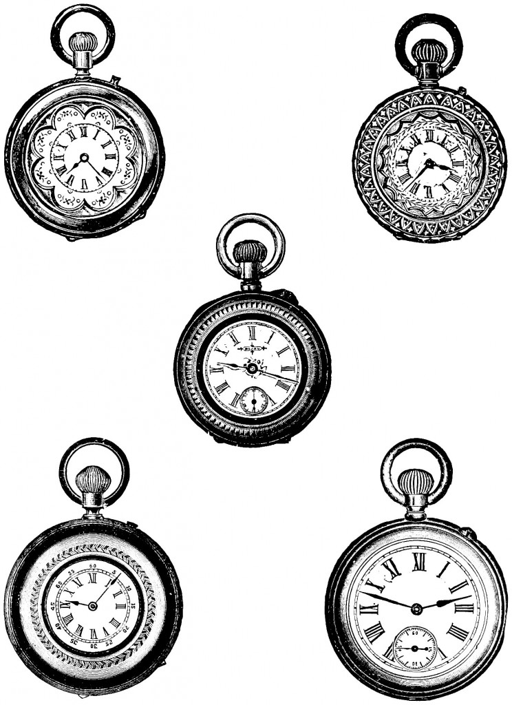 Free Clip Art   Vintage Pocket Watch.
