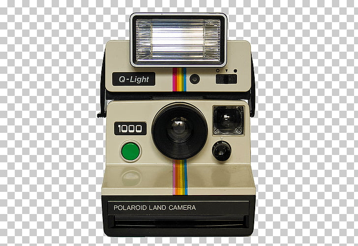 Vintage Polaroid Camera, white and black Polaroid Q.