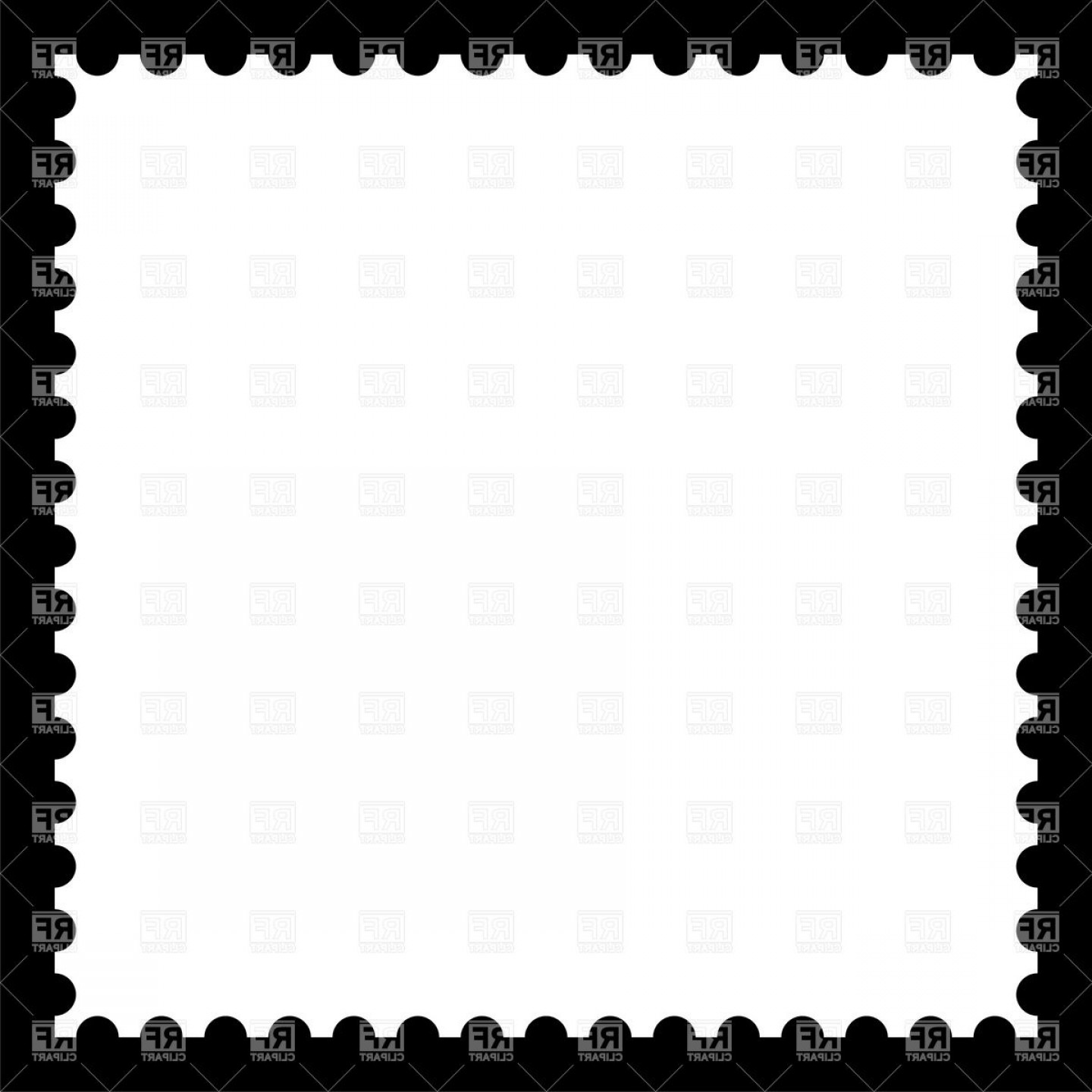 White Blank Postage Stamp On Black Vector Clipart.