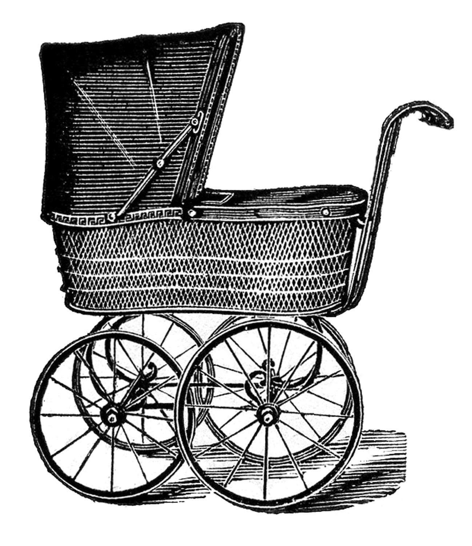 Vintage Baby Carriage Clipart Pram Stroller.