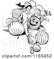 Clipart of a Vintage Black and White Emerald Oz Pumpkin Head.