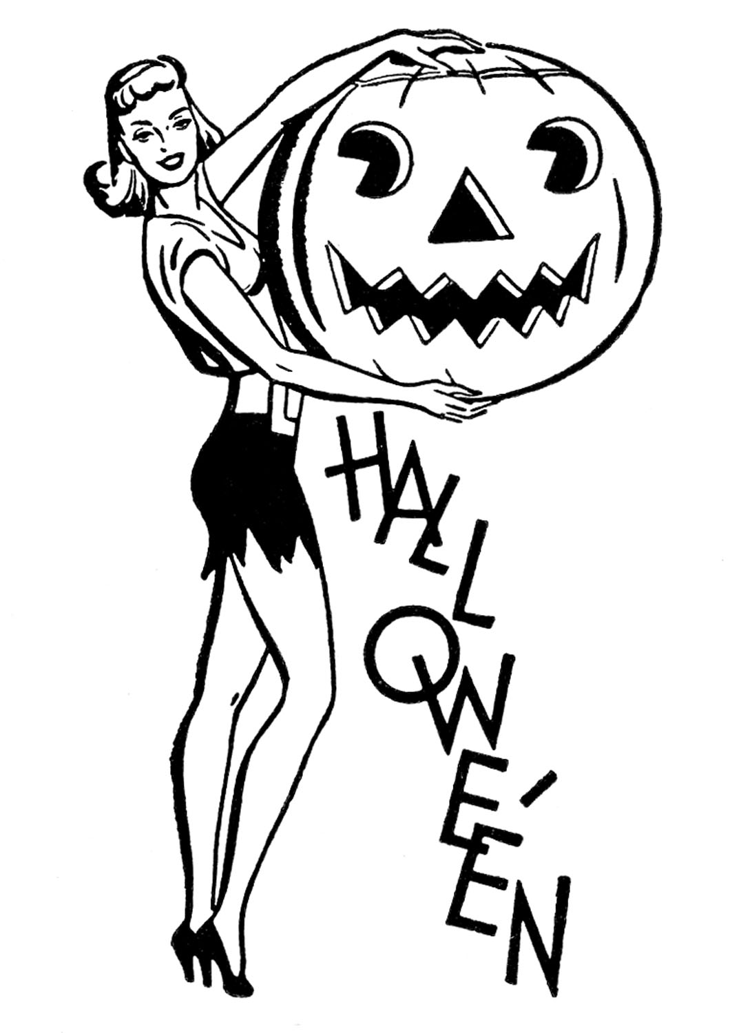 Retro Halloween Clip Art.