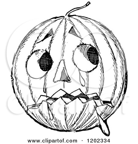 Clipart of a Retro Vintage Black and White Falling Pumpkin Man.