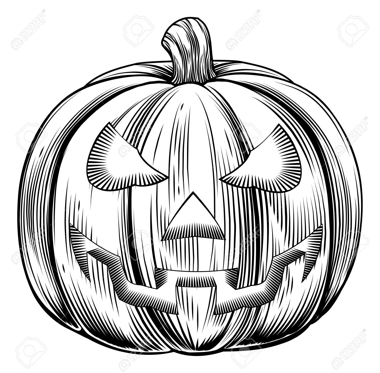 An Illustration Of A Halloween Pumpkin In A Retro Vintage.