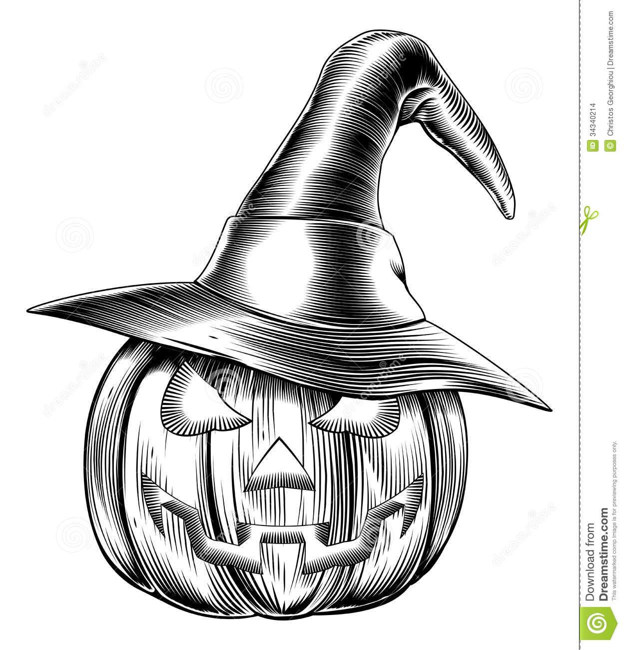 Vintage Halloween Witch Pumpkin Stock Images.