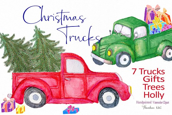 Red Truck Clipart, watercolor.