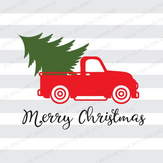 Vintage Truck Christmas tree delivery SVG dxf png pdf jpg ai.