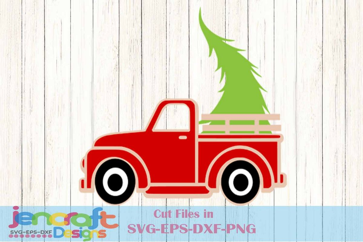 Vintage Red Christmas Truck with Tree SVG Classic truck SVG.