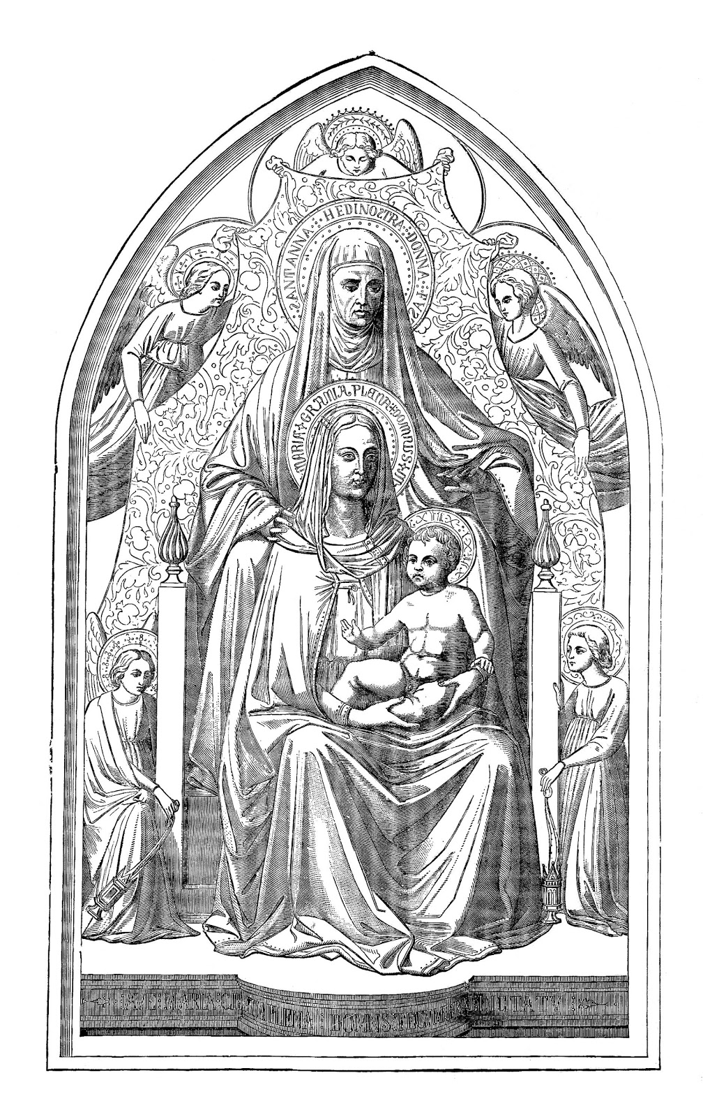Antique Images: Religious Clip Art: Vintage Black and White.