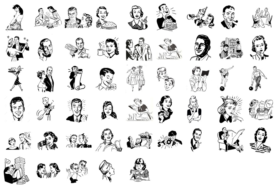 Retro Line Art PNG Transparent Set of 50 for only $3.50.