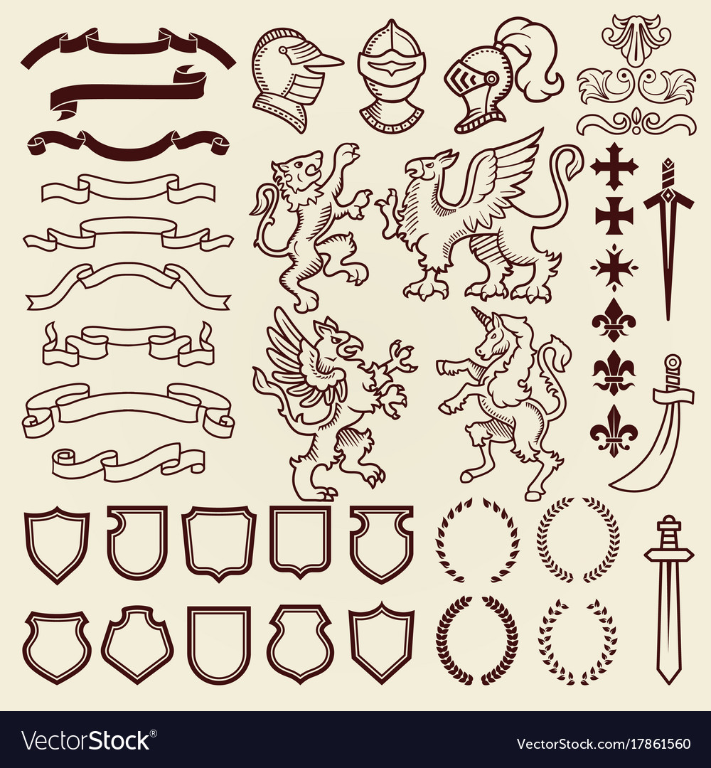 Heraldic design vintage retro shield clipart royal.