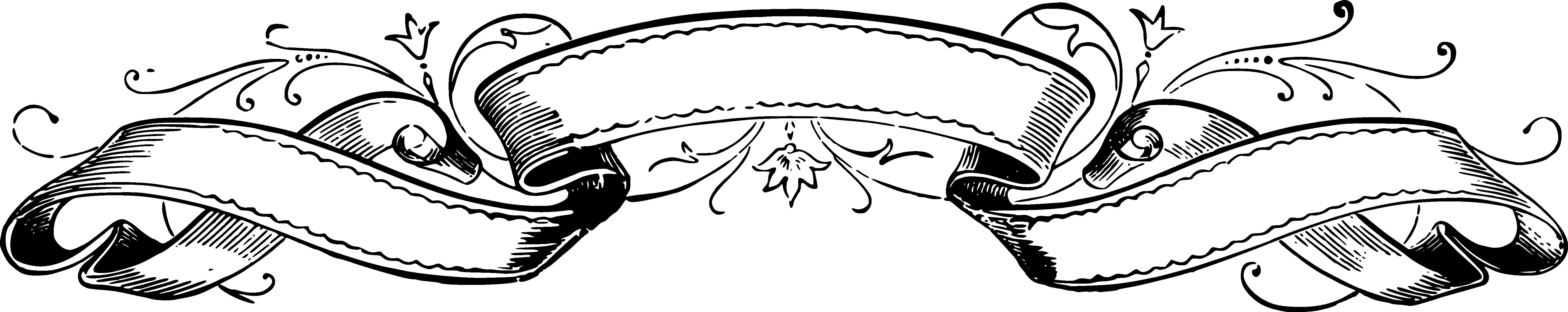 Ribbon Vector Black White Png.