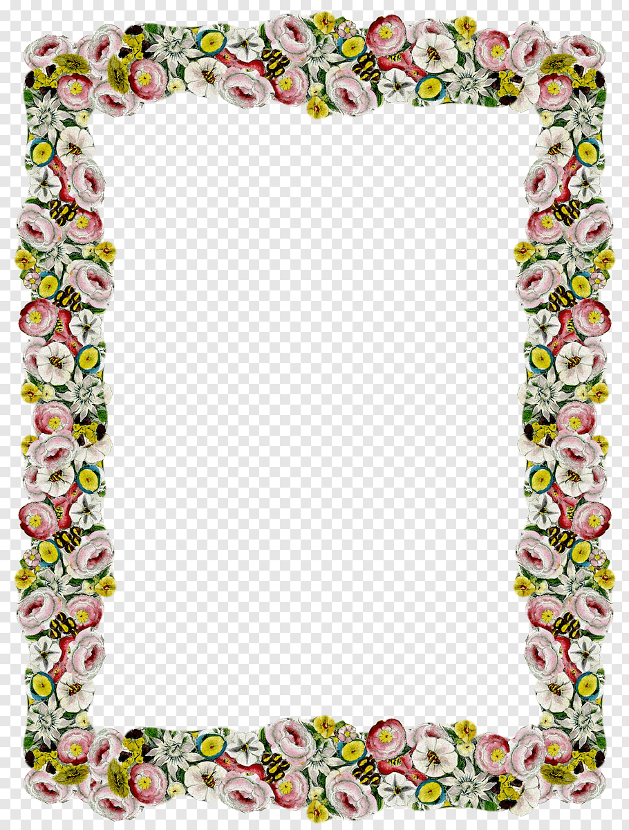 Pink, green, and yellow floral frame border, Borders and.