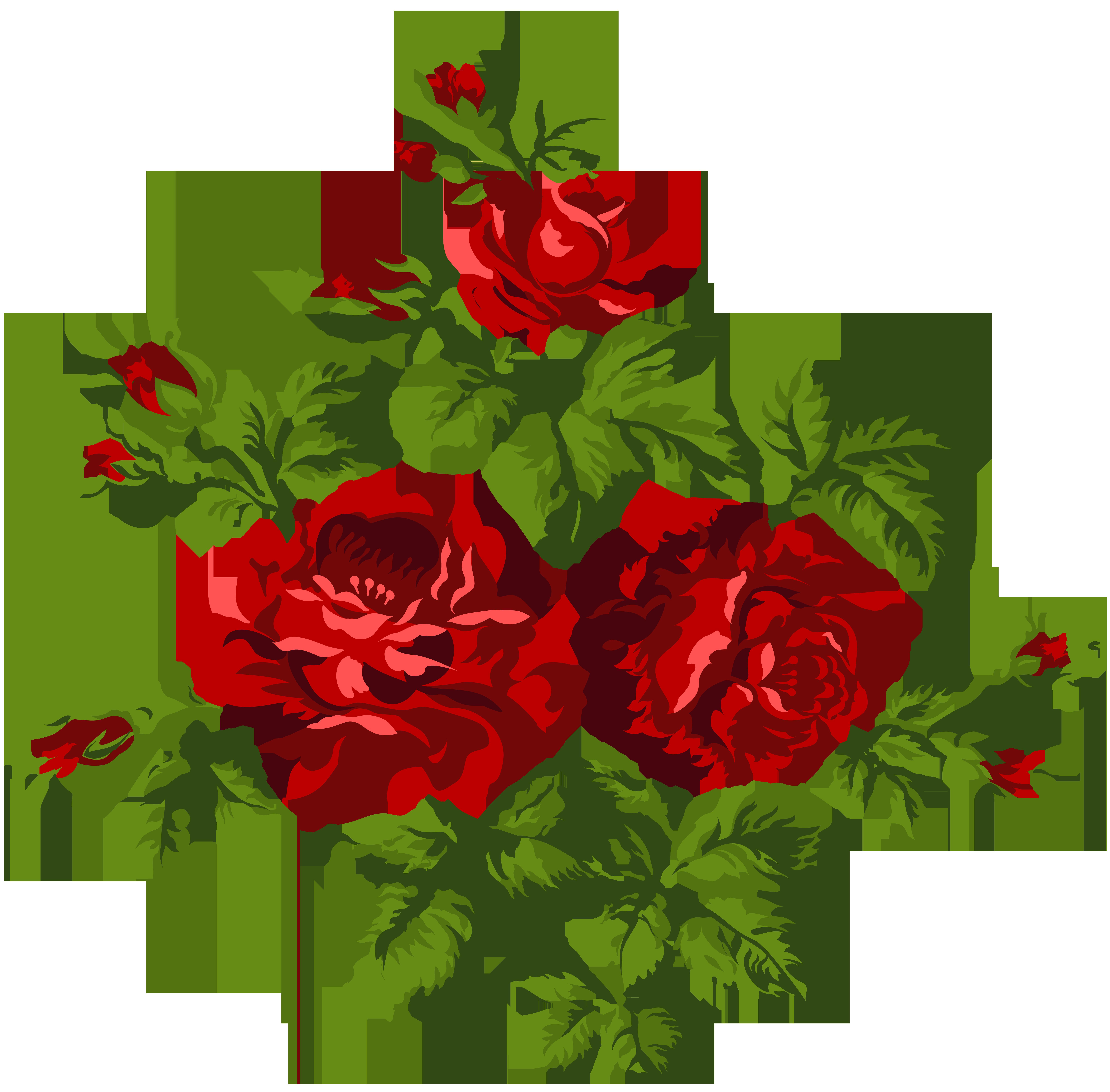 Vintage Roses PNG Clip Art Image.