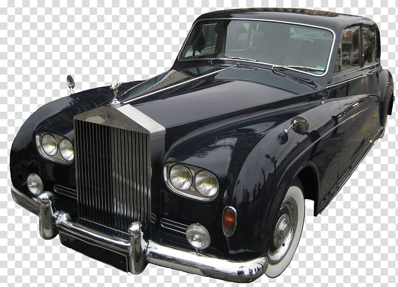 Fancy Car, classic black Rolls Royce Phantom transparent.