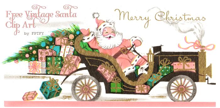 Free Vintage Shabby Pink Santa Clip Art.