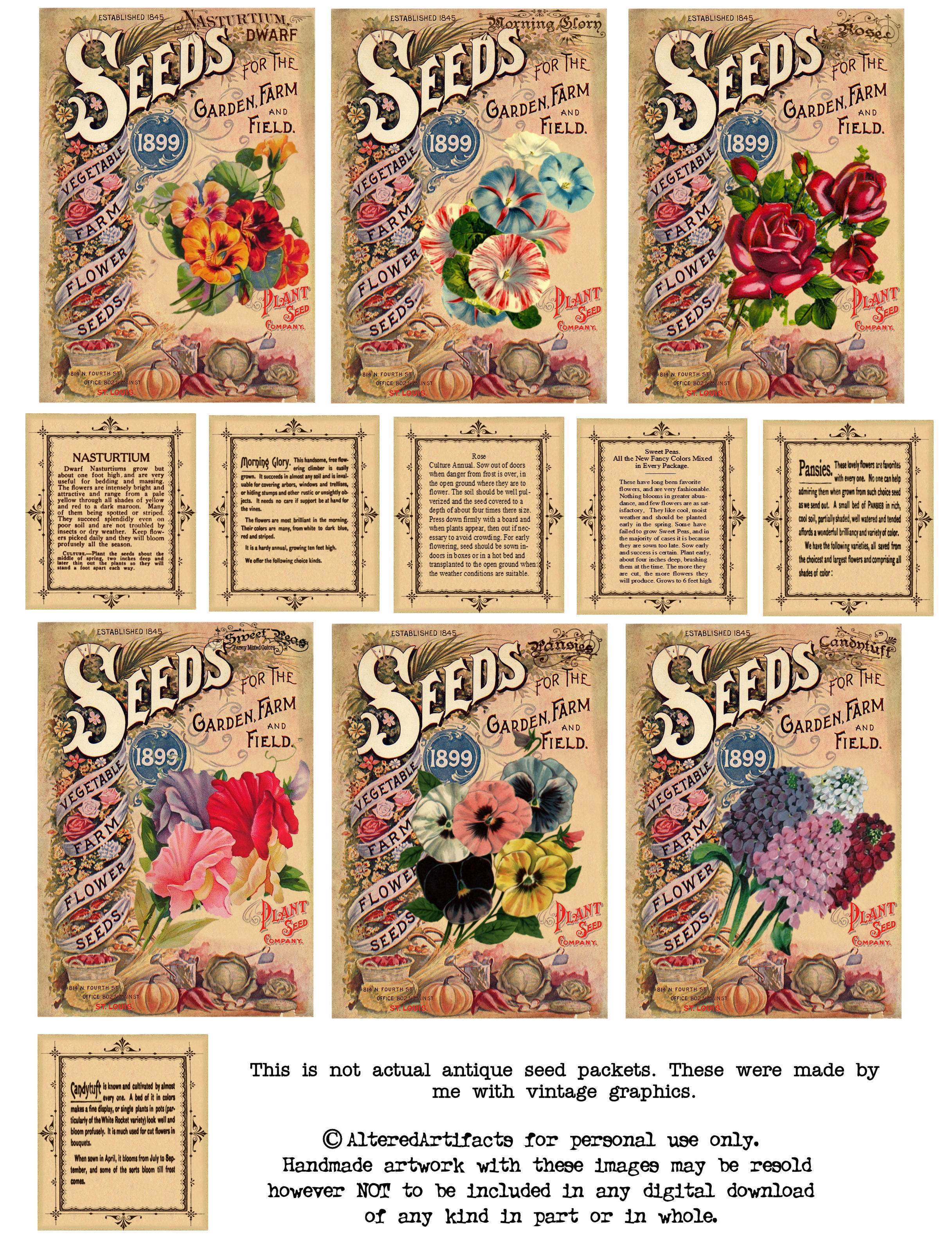 ALTERED ARTIFACTS: Free Antique Flower Seed Packets Printable.