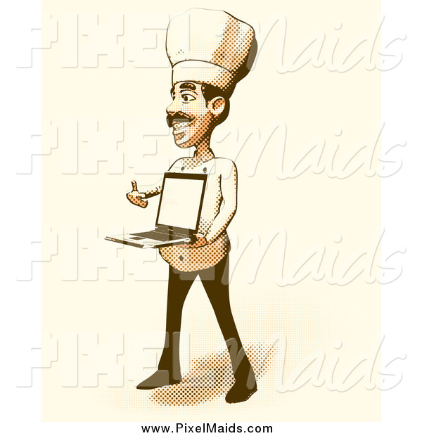 Clipart of a Halftone Male Chef Holding a Laptop in Vintage.
