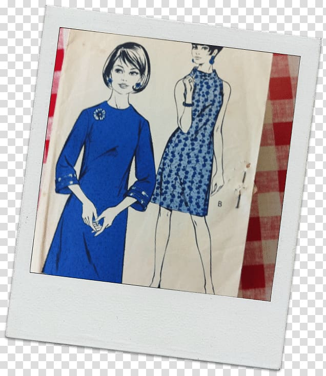 Fashion illustration Poster, sewing pattern transparent.