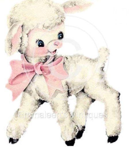 Vintage Image Shabby Baby Nursery Little Lamb Waterslide Decals.