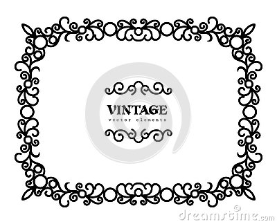 Vintage Calligraphic Rectangle Frame With Swirls Stock Vector.