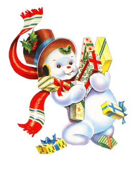 Vintage Snowman with Christmas Presents.