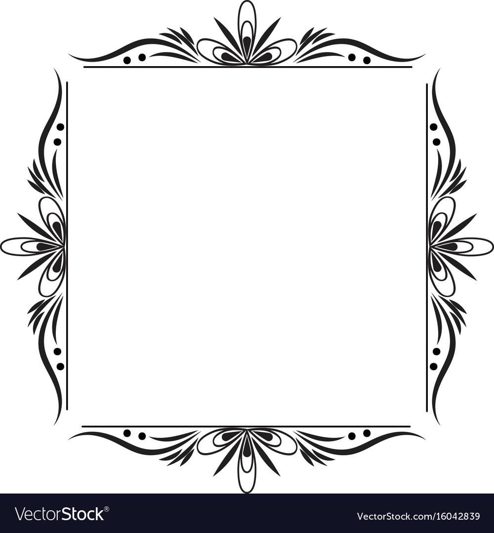 Black contour vintage classic square frame.