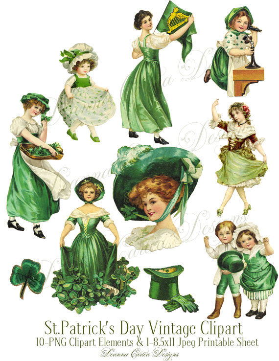 St.Patrick\'s Day Clipart, Vinage Victorian Clipart Printable.