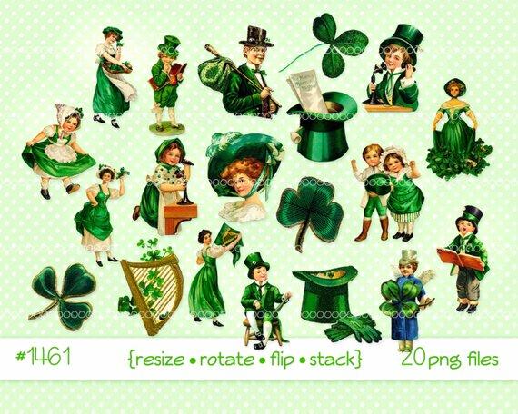 Digital clipart, instant download, Vintage St Patrick\'s Day.