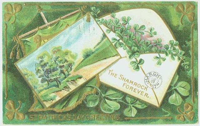St. Patrick\'s Day Free Vintage Clip Art: Shamrocks Greeting.