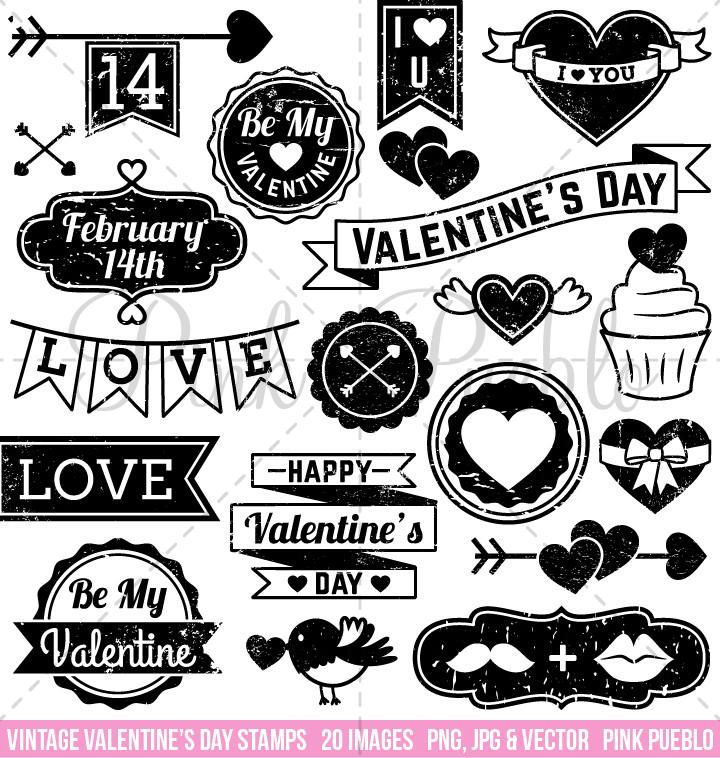 Vintage Valentine\'s Day Stamps Clipart and Vectors.