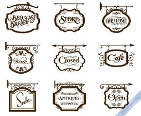 Vector Vintage Store Signs set I by DaPinoGraphics.