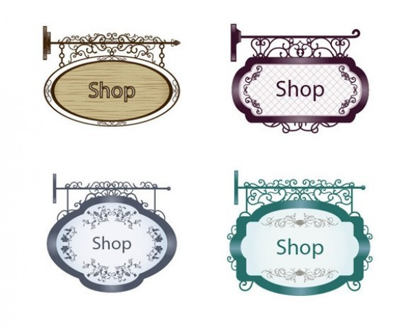 Vintage Store Signs Clipart.