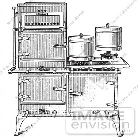 Retro Clipart Of A Vintage Antique Fireless Cooking Gas Stove In.