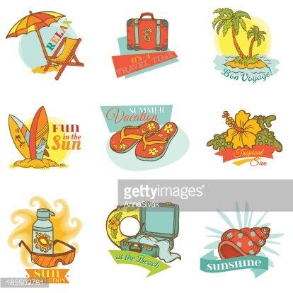 Set of Vintage Summer Labels Clipart Image.