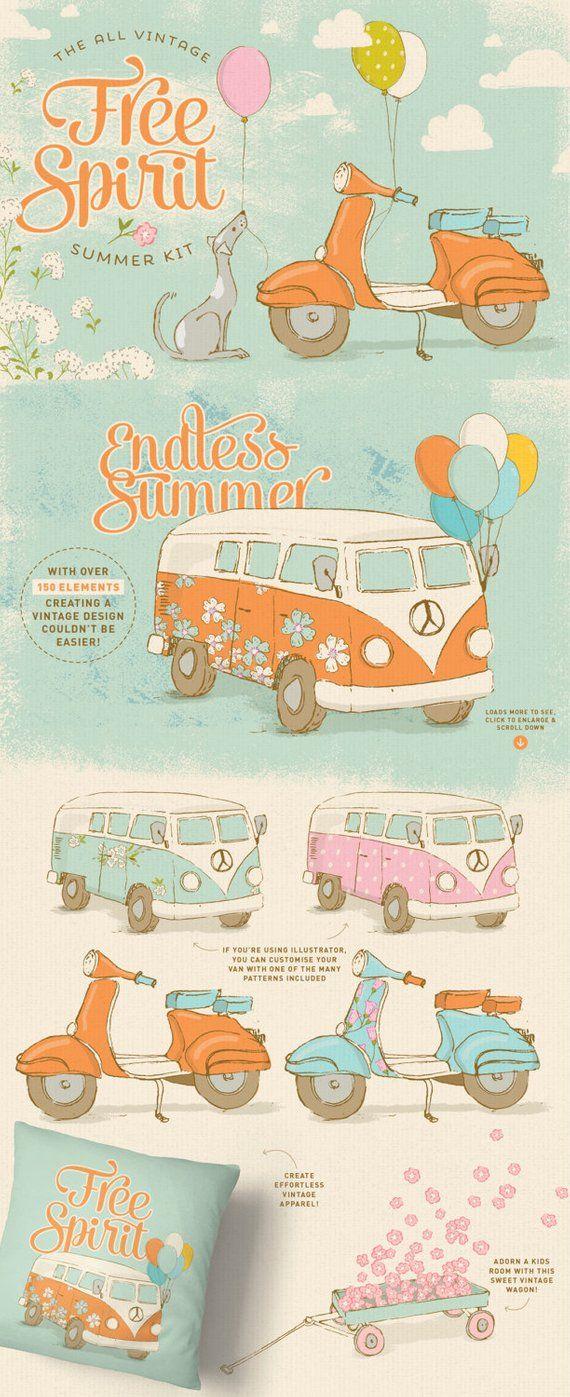 Vintage Summer clipart set / retro clip art / nursery wall.