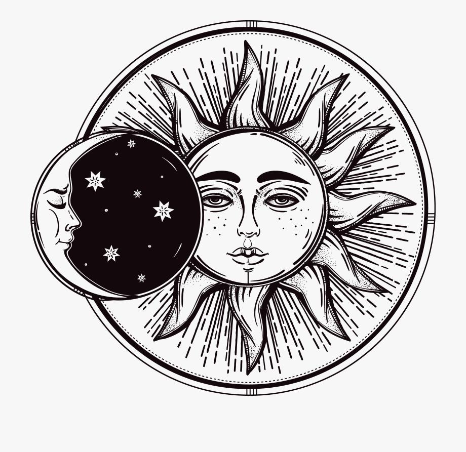 Drawn Lunar Sun Moon.