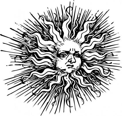 Vintage sun clipart.