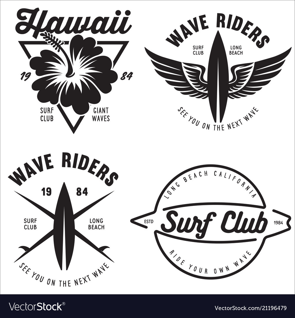 Set of vintage surfing graphics and emblems for.