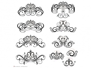 Digital Flourish Clip Art Vintage Flourish Swirls Design Clipart Fleur De  Lis Digital Frame use as Decorative Embellishments 10091.