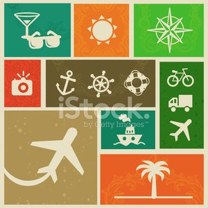 Vector vintage labels with travel signs and symbols Clipart.