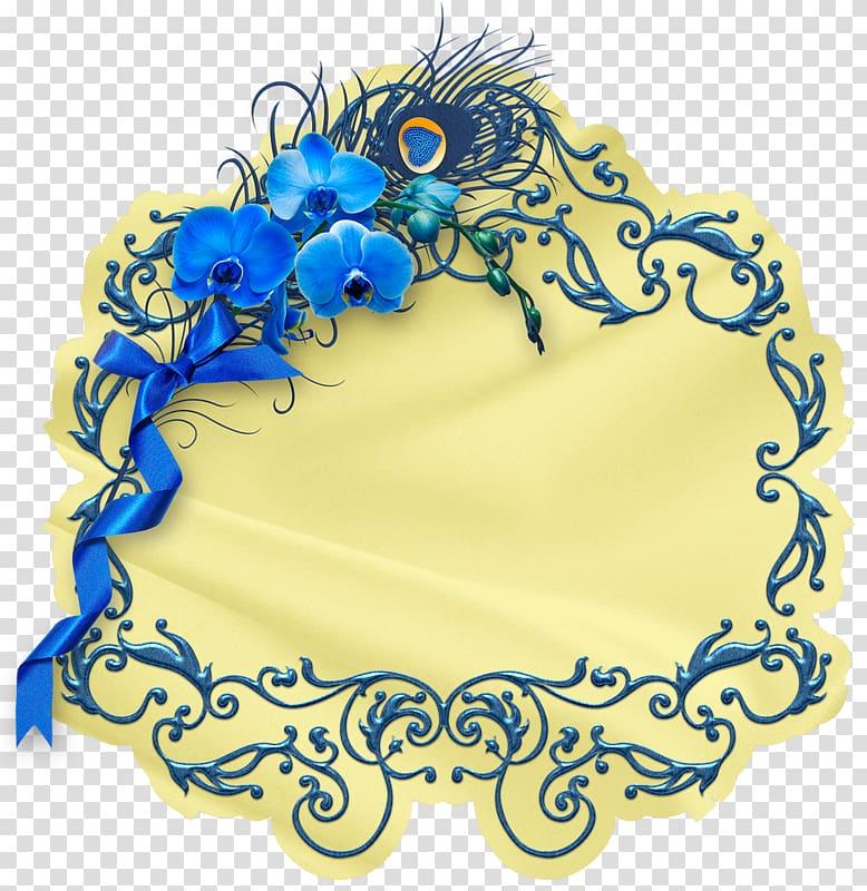 Blue , Vintage blue pattern decoration promotional tag.