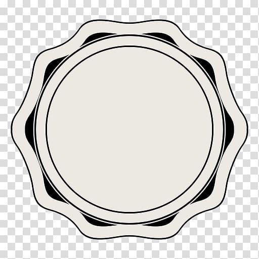 Tableware Circle Oval, vintage label transparent background.
