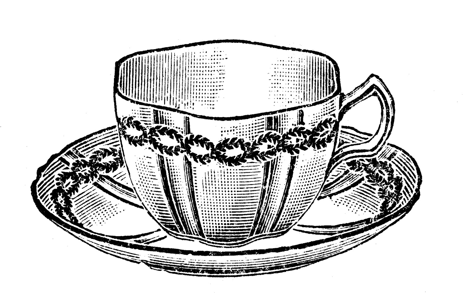 Vintage Tea Cups Clipart.