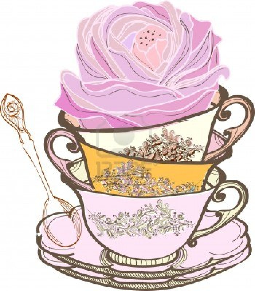 Vintage stacked tea party clipart.