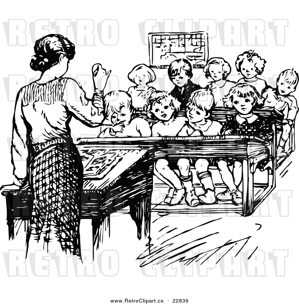 Vector Clip Art of Retro Teacher Speaking to Students by.