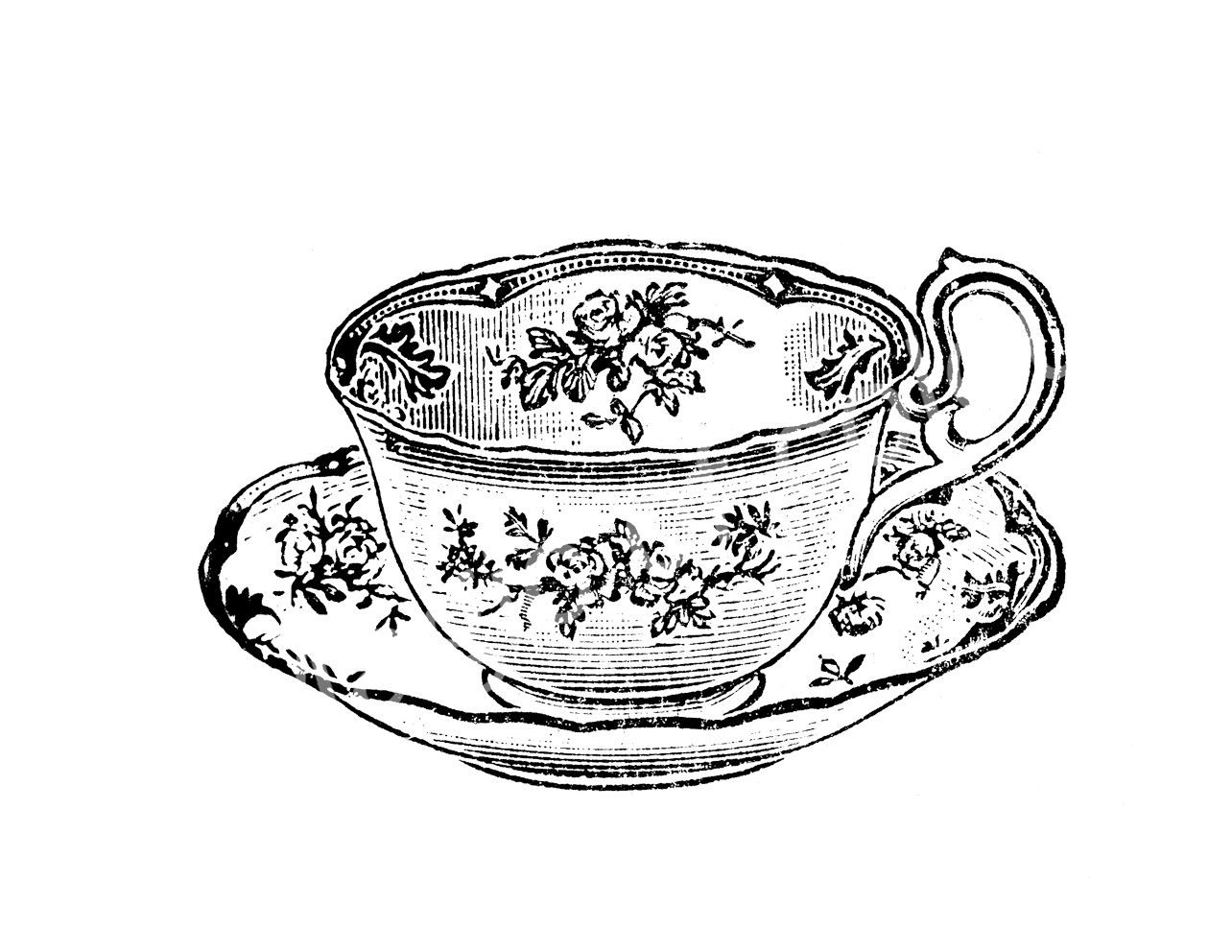 Images For > Vintage Teacup Drawing.
