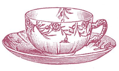 10 Black and White Teacup Clip Art Images.