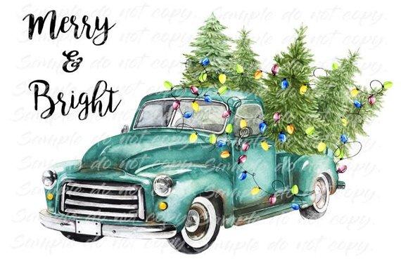 Merry & Bright Blue Vintage Truck Christmas Tree Heat Press.